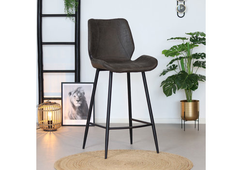 Industrial Bar Stool Barrel Anthracite Leather