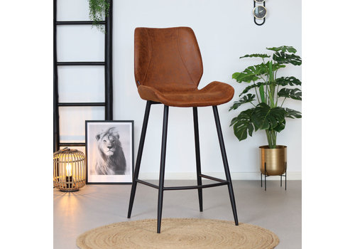 Industrial Bar Stool Barrel Cognac Leather