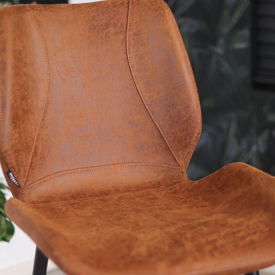 Industrial Bar Stool Barrel Cognac Leather