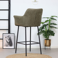 Industrial Bar Stool Club Olive Green leather