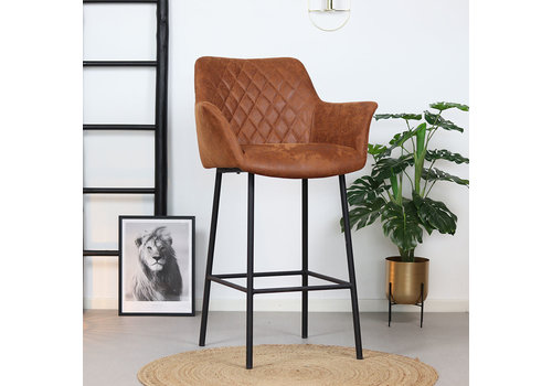 Industrial Bar Stool Club Cognac leather
