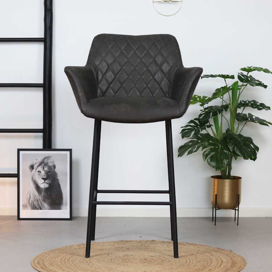 Industrial Bar Stool Club Anthracite leather