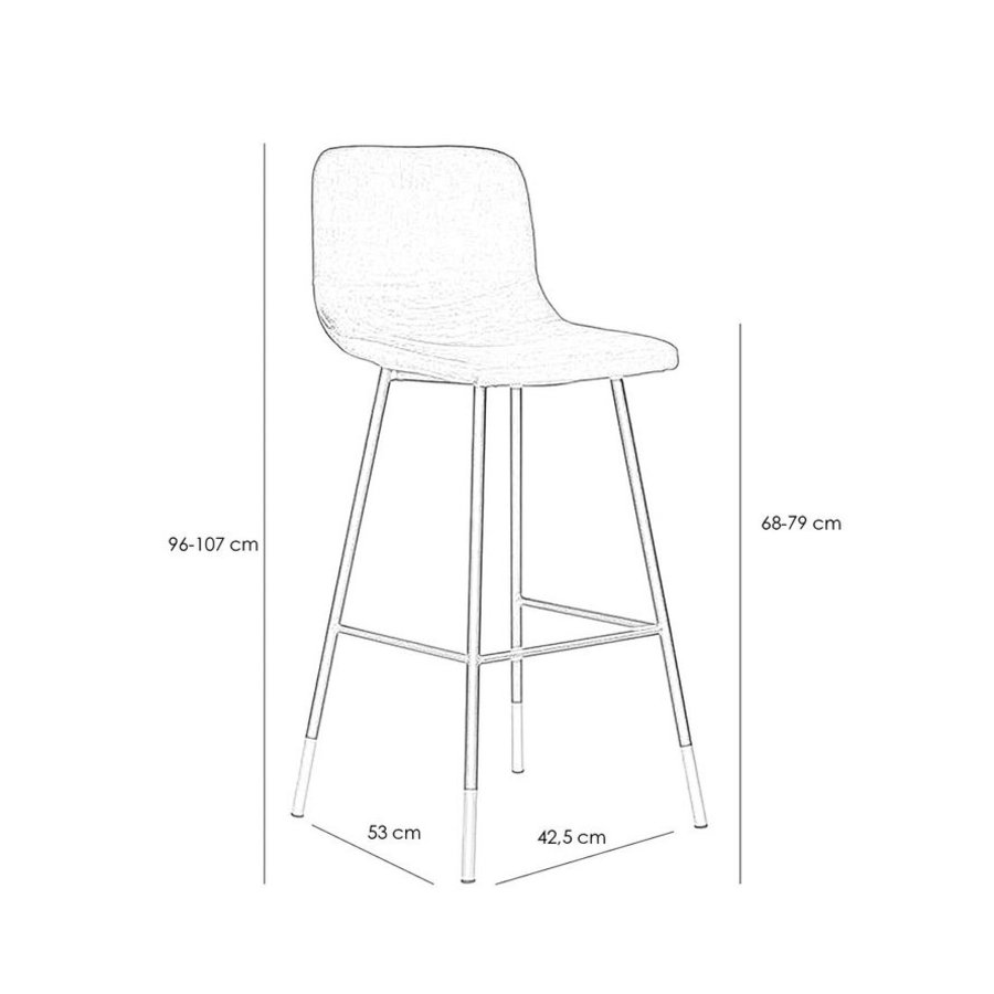 Velvet bar stool Mikky Black height adjustable