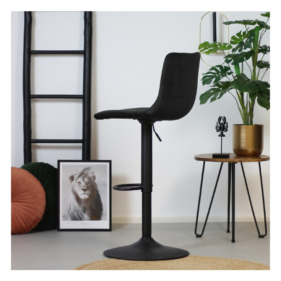 Velvet bar stool Frankie Black height adjustable