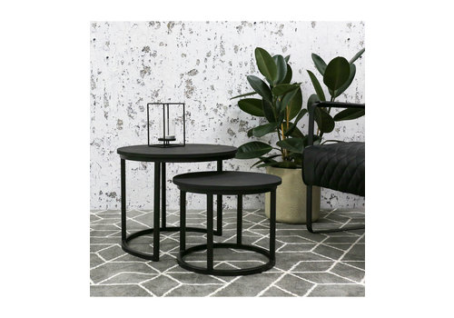 Industrial Coffee table Giro Black (set of 2)