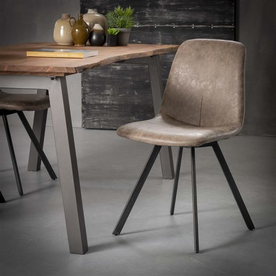 Industrial Dining Chair Sawston Brown