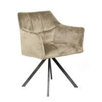 Velvet dining chair Bentley Beige rotatable seat