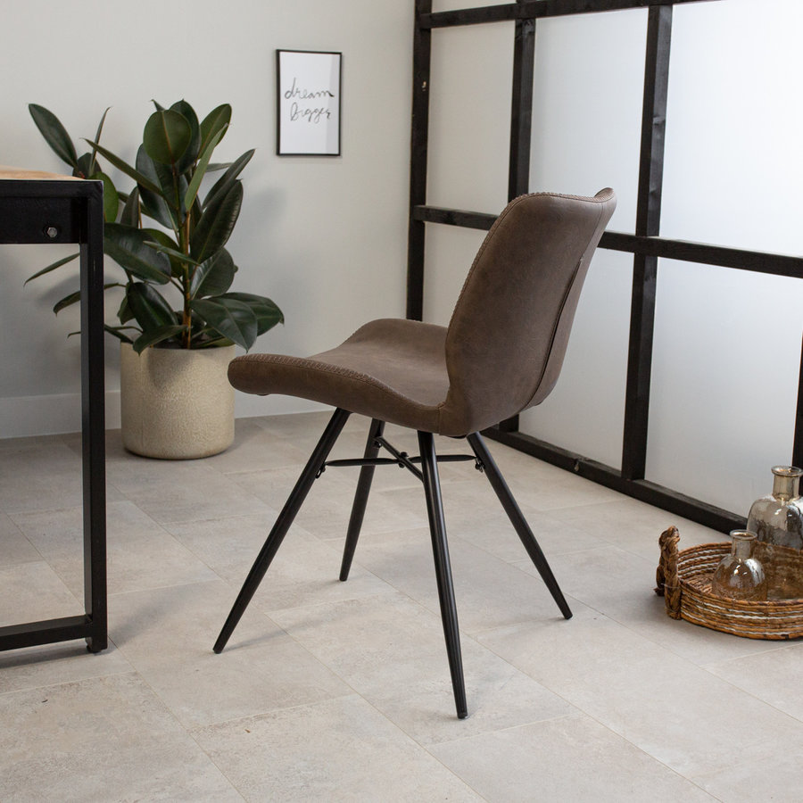 Industrial Dining Chair Barron  Premium Brown