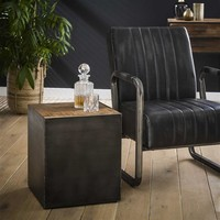 Industrial Side Table Belby Robust Hardwood 40cm