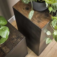 Industrial Side Table Belby Robust Hardwood 50cm
