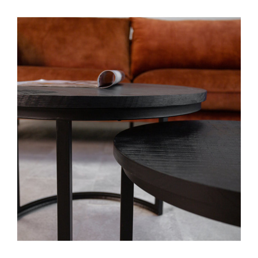 Coffee table Calla (set of 2) solid wood Black
