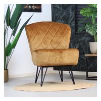 Velvet armchair Else Yellow Gold