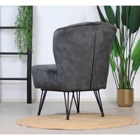 Velvet armchair Else Anthracite