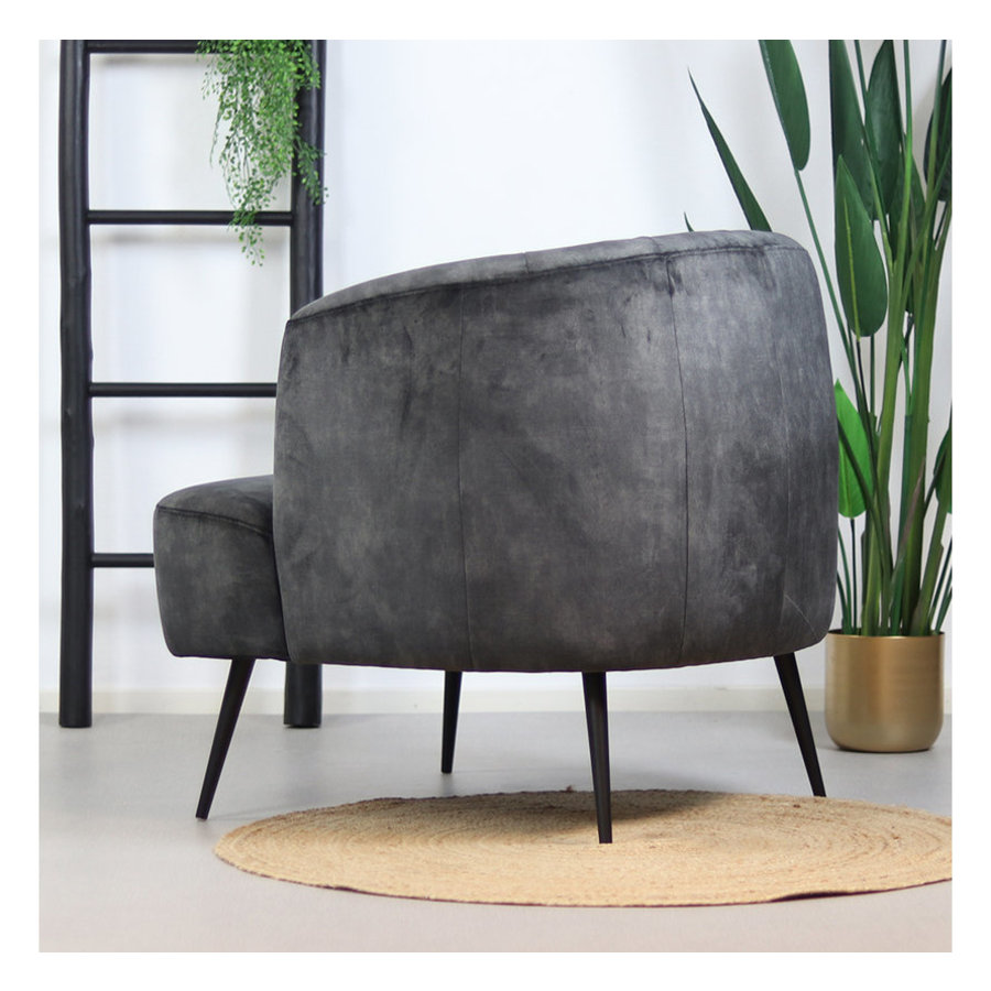 Velvet armchair Billy Anthracite