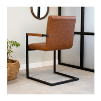 Industrial Dining Chair Kubis Cognac