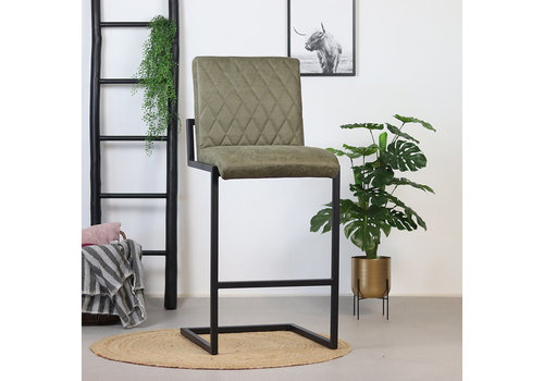 Bar Stool Diamond Olive Green Leather