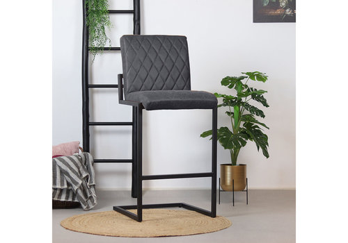 Bar Stool Diamond Anthracite Leather