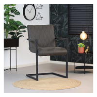 Leather Dining Chair Diamond Anthracite