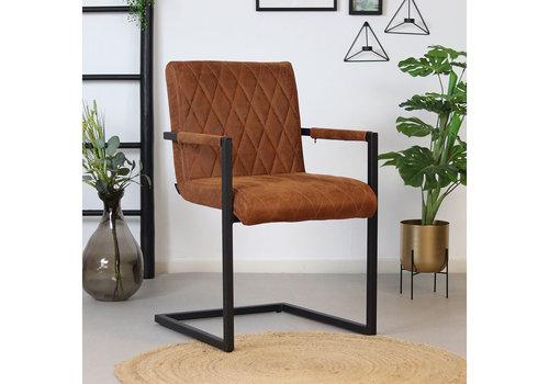 Leather Dining Chair Diamond Cognac