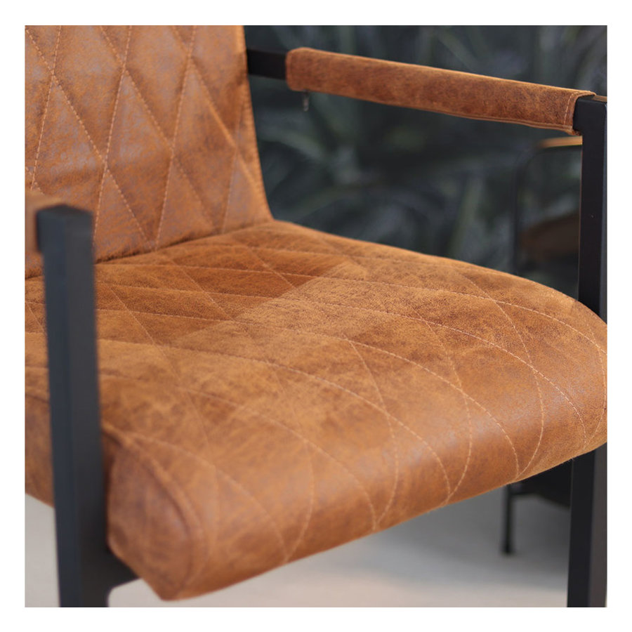 Leather Dining Chair Diamond Cognac