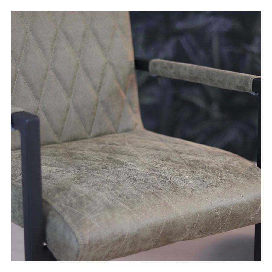 Leather Dining Chair Diamond Olive Green