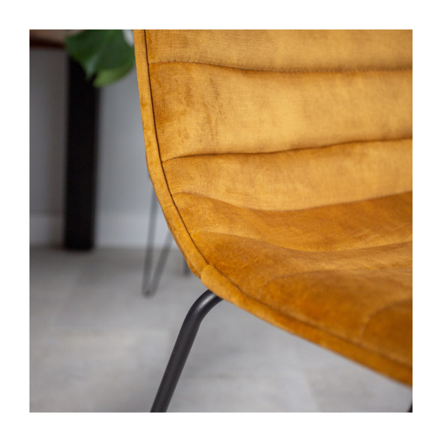 Industrial Dining chair Rover velvet Yellow