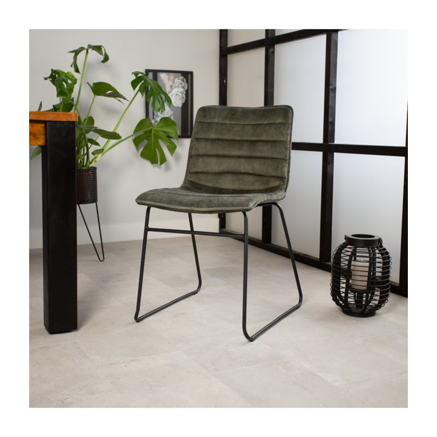 Industrial Dining chair Rover velvet Green