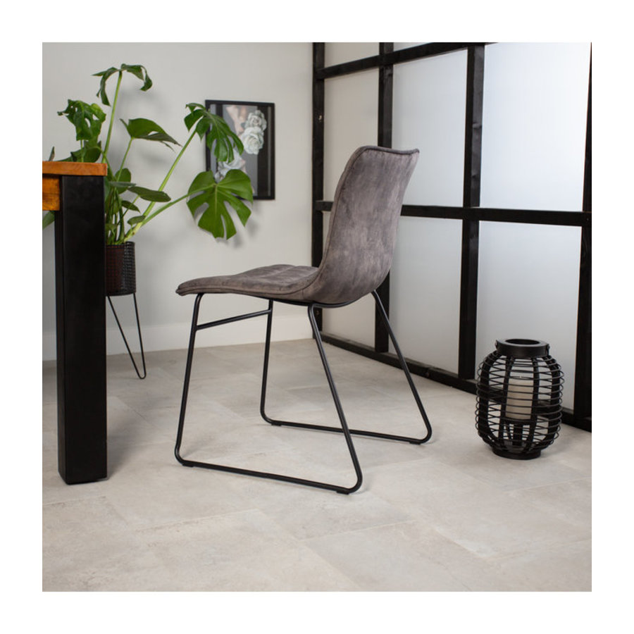 Industrial Dining chair Rover velvet Grey