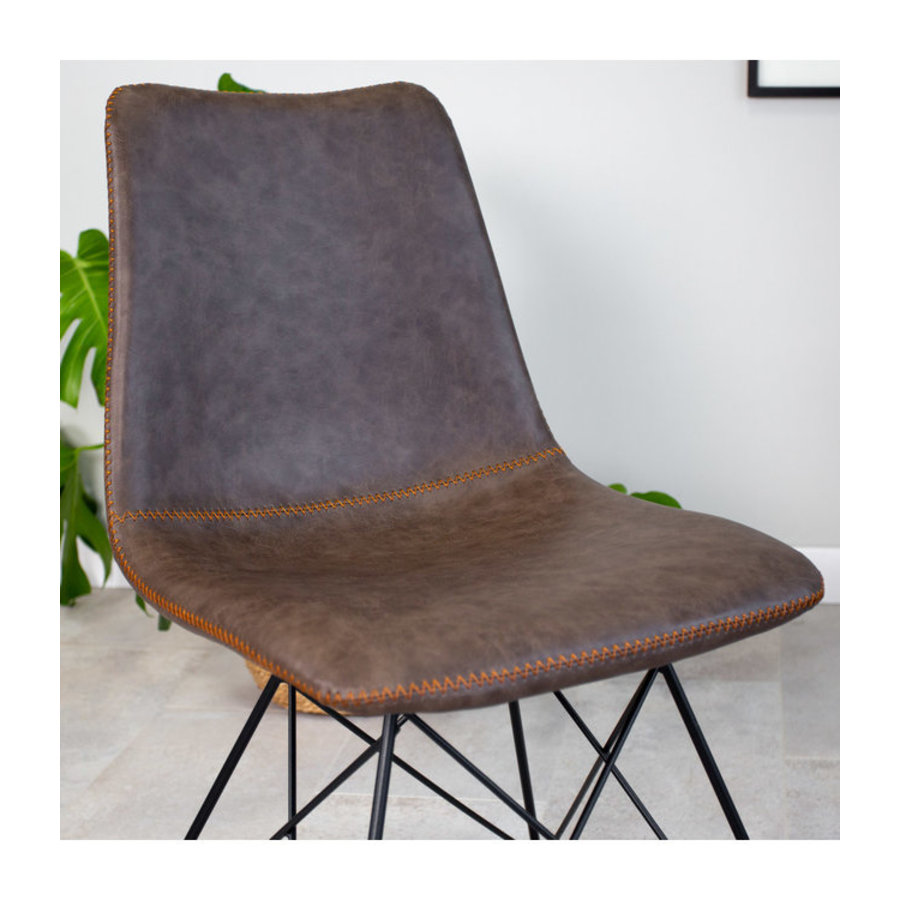 Industrial dining chair Jace Premium Brown