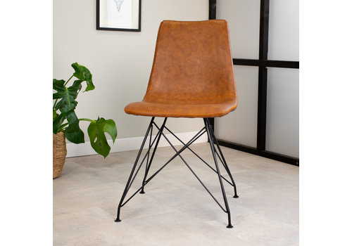 Industrial dining chair Jace Premium Cognac