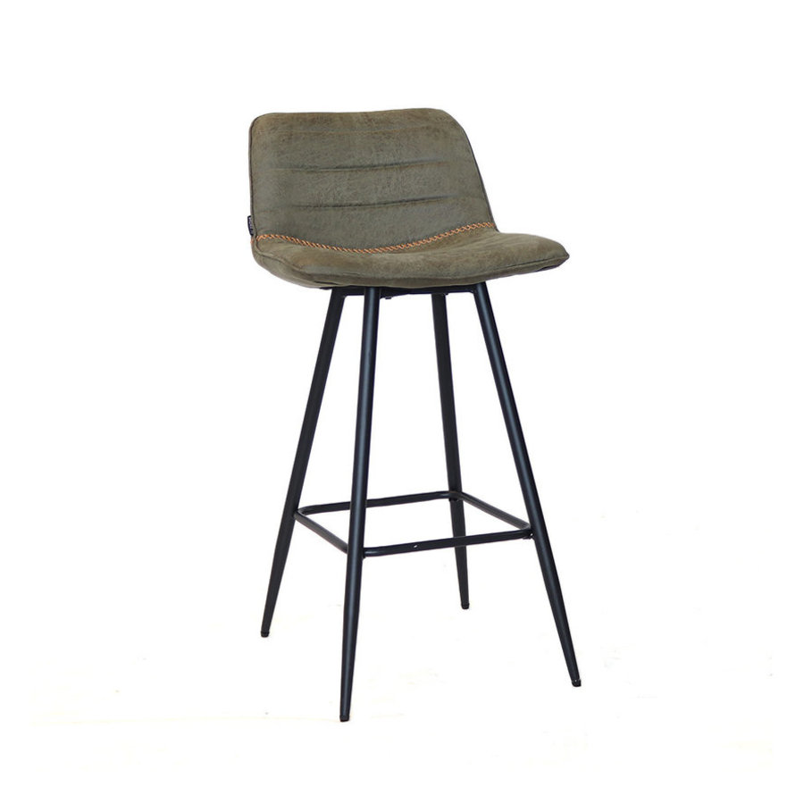 Industrial Bar Stool Jackson Olive Green Leather