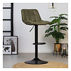 Industrial Bar Stool Rocky olive green Leather