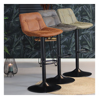 Industrial Bar Stool Rocky Anthracite Leather