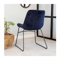 Industrial Dining chair Lenn velvet Blue