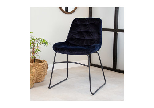 Industrial Dining chair Lenn velvet Blue