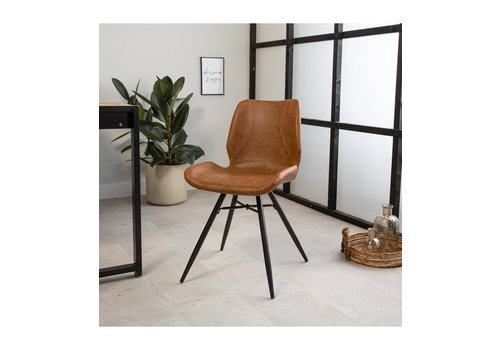 Industrial Dining Chair Barron Cognac