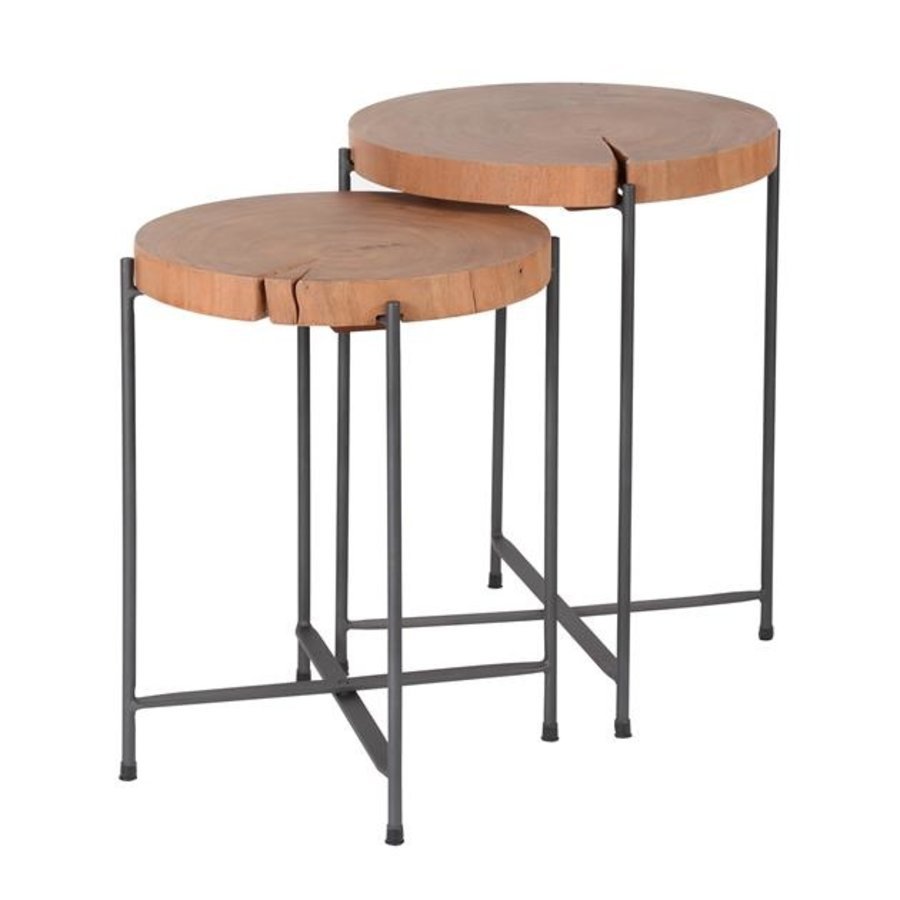 Industrial Side Table Bearstone (set of 2)