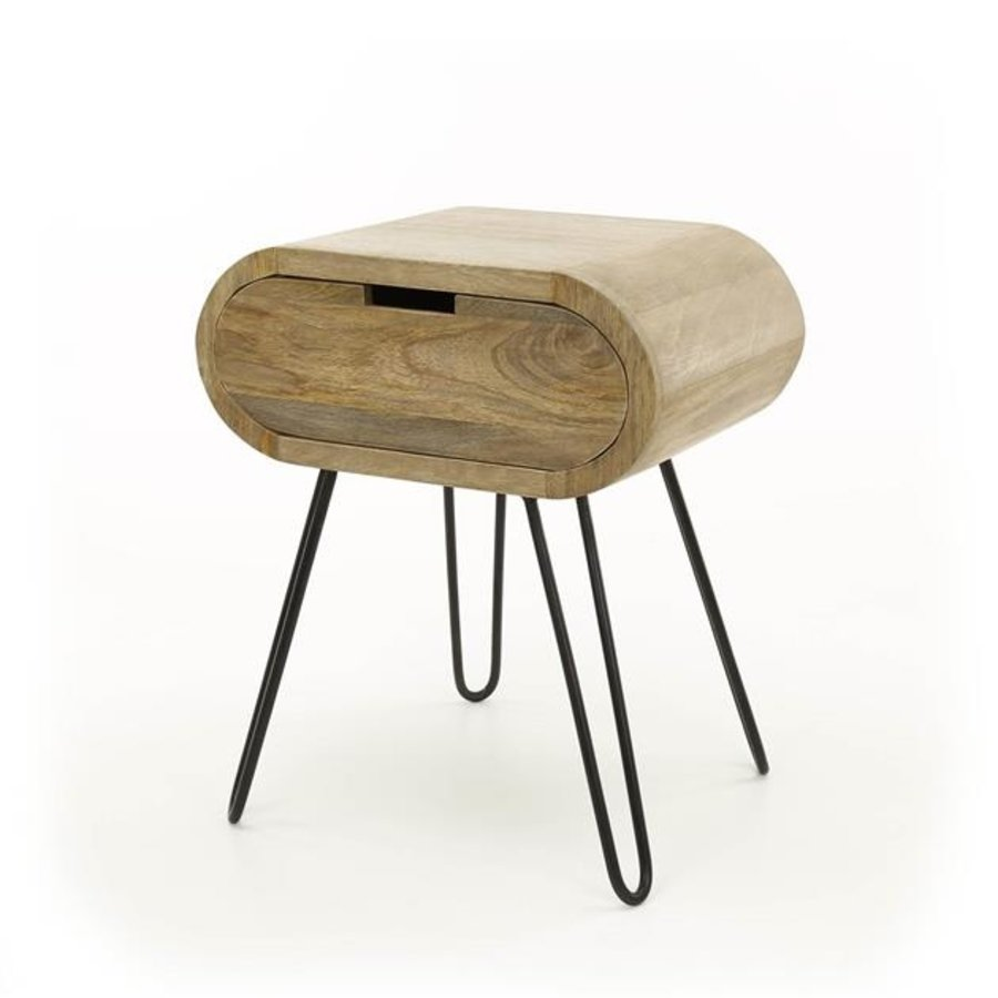 Industrial bedside table Peplow Solid Mango Wood