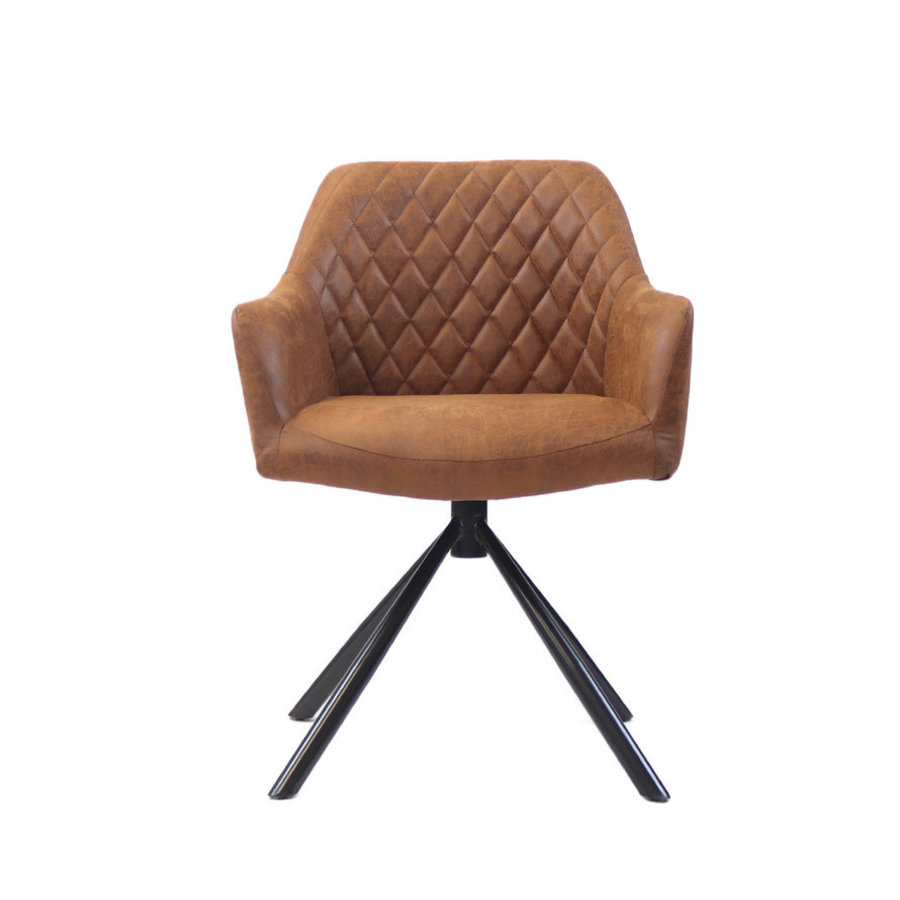 Industrial dining chair Dex Cognac eco-leather