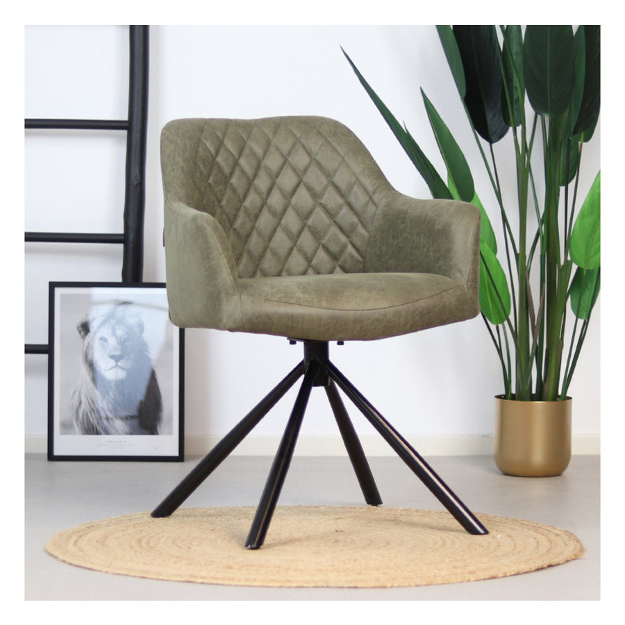Industrial dining room chair Dex Green eco-leather