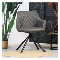 Industrial dining room chair Dex Anthracite eco-leather