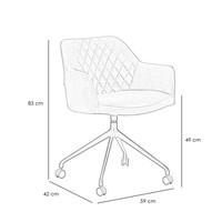 Industrial dining chair Quinn velvet Black (wheels)