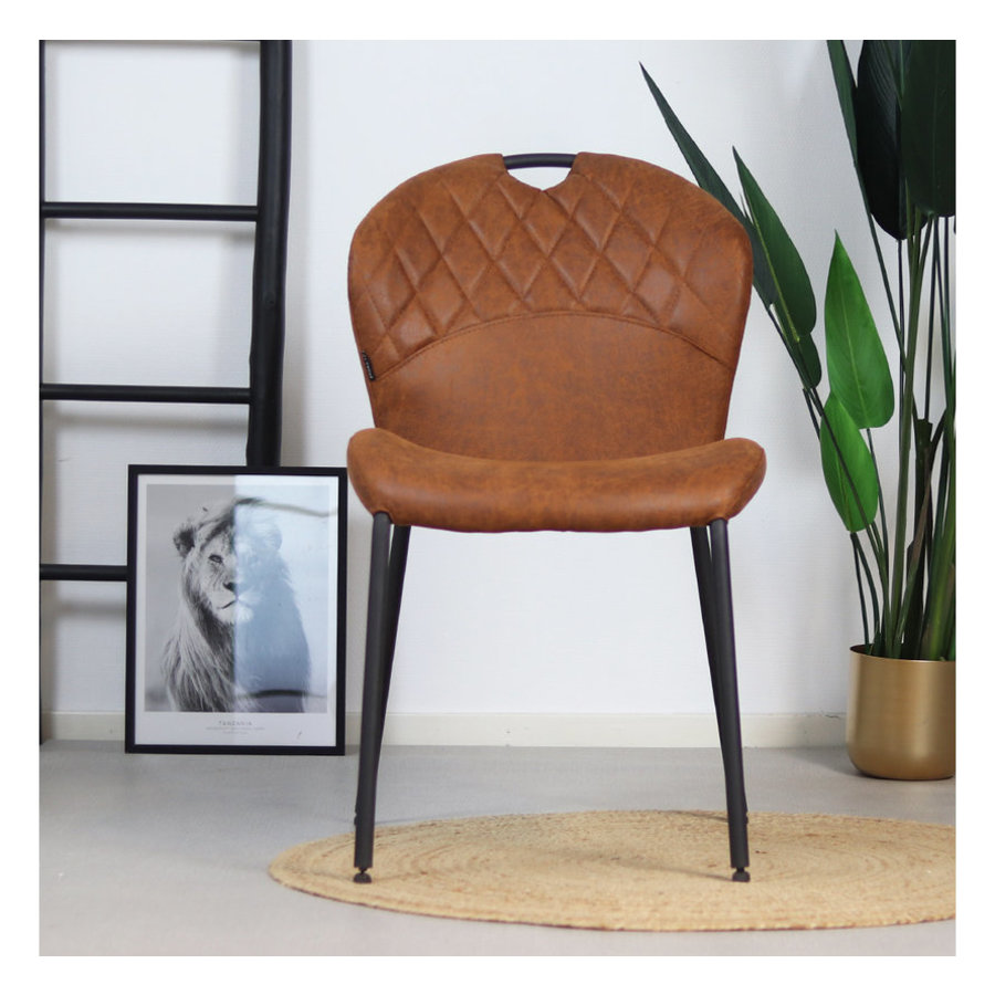 Industrial dining chair Fay Cognac leather