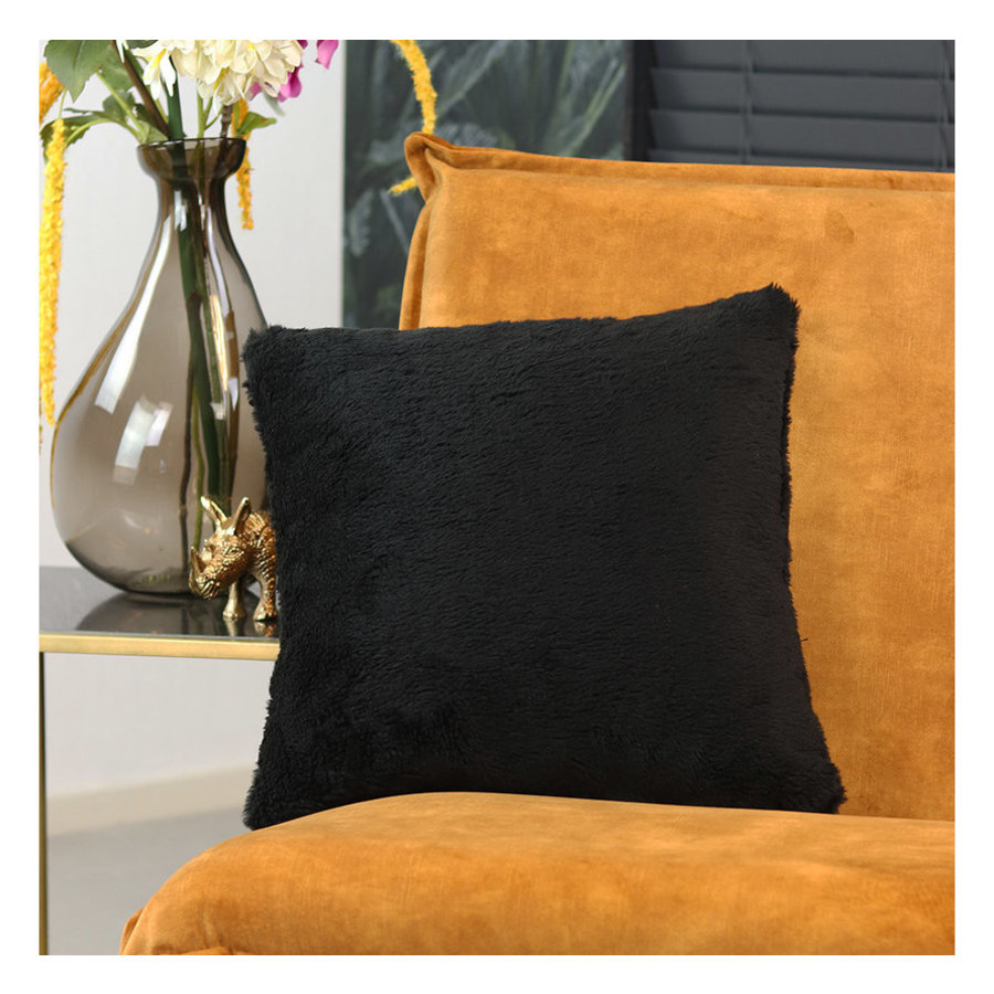 Pillow Tess teddy Black 45 x 45 cm