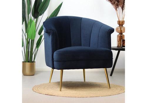 Velvet armchair Amy Blue