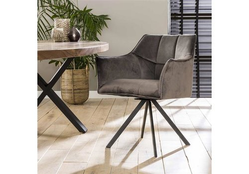 Velvet dining chair Bentley Anthracite rotatable seat