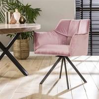 Velvet dining chair Bentley Pink rotatable seat