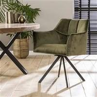 Velvet dining chair Bentley Green rotatable seat