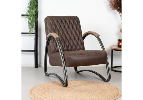 Industrial armchair Ivy Brown leather