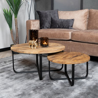 Industrial Coffee Table Clover Mango Wood (set of 2)